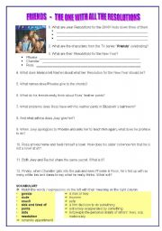 English Worksheet: NEW YEAR RESOLUTIONS - FROM TV SERIES