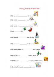 English worksheets doing words worksheet