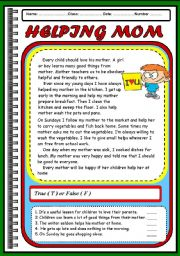 English Worksheets: READING  - HELPING MOM ( 2 PAGES)
