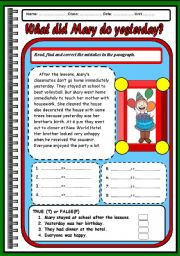 English Worksheets: What did Mary do yesterday?