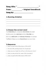 English Worksheet: COLOURS OF THE WIND from Pocahontas