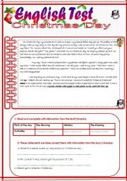 English Worksheets: English Test(3 parts) Reading Comprehension/Grammar+ Vocabulary/Writing(+KEY)
