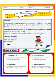 English Worksheet: a letter to pen pal