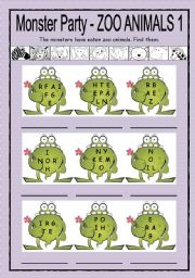 English Worksheets: Monster Party - zoo animals 1 + B/W + key