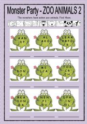 English Worksheets: Monster Party - zoo animals 2 + B/W + key