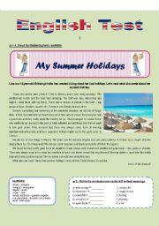 English Worksheet: SUMMER HOLIDAYS (Reading comprehension)