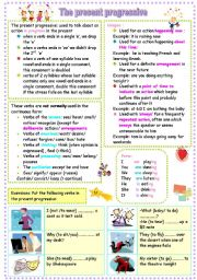 English Worksheets: the present progressive part 1