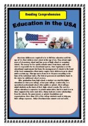 English Worksheet: Education in the USA: Reading Comprehenson