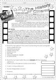 English Worksheet: The History of Cinema