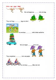 English worksheet: Complete with our, your, their