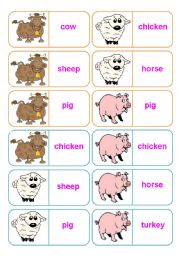 English Worksheets: Farm animals - 28 dominoes - 4 pages - instructions included - fully editable