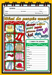 English Worksheets: WHAT DO PEOPLE WEAR?