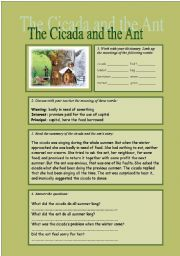 English Worksheets: The Cicada and the Ant