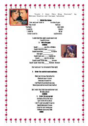 English Worksheets: Song : Could I have this kiss forever by Whitney Houston and Enrique Iglesias