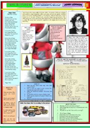 English Worksheet: HAPPY  XMAS (War Is Over) - JOHN LENNON - PART 01