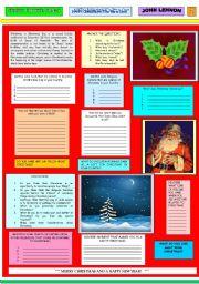English Worksheets: HAPPY  XMAS (War Is Over) - JOHN LENNON -  PART 02