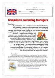 English Worksheets: Eating Problems Assessment Test