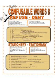English worksheet: CONFUSABLE WORDS 8- REFUSE-DENY-STATIONARY-STATIONERY -AMOUNT-NUMBER-WANDER-WONDER