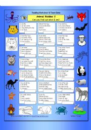 English Worksheet: Animal Riddles 2 (Medium)