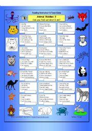 English Worksheets: Animal Riddles 2 (Medium)
