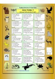 English Worksheet: Animal Riddles 3 (Hard)