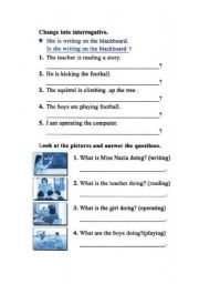 English Worksheets: ING-questions