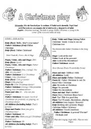 english worksheet a christmas play kids 3 6