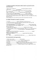 English Worksheet: Used to/ would/be used to / get used to