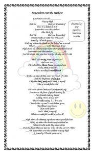 English Worksheet: Somewhere over the rainbow