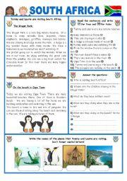 English Worksheet: ENGLISH-SPEAKING COUNTRY (17) SOUTH AFRICA
