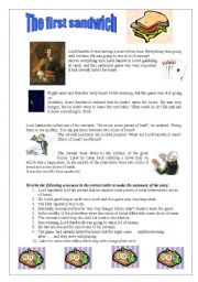 English Worksheets: The first sandwich