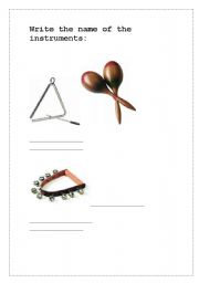 English Worksheets: Percussion instruments