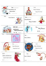 English Worksheet:    PRESENTS-mini Christmas cards for your lovely students!