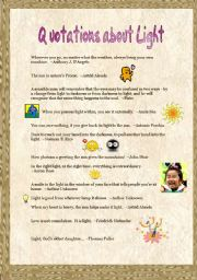 English Worksheets: Quotations about Light (2)