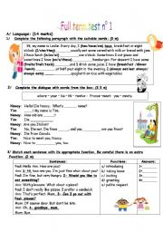 English Worksheet: full term test n 1