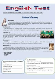 English Worksheets: School dinners (Reading comprehension)