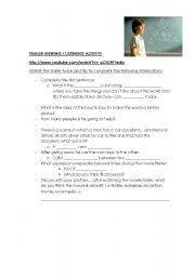 English Worksheets: LISTENING - SPEAKING ACTIVITY UPON MOVIE TRAILER: