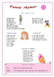 English Worksheet: Funny rhymes for children.