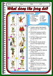 English Worksheets: OCCUPATIONS-what does the frog do?