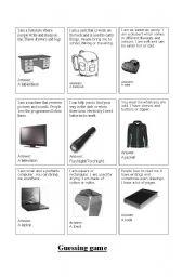 English Worksheet: Guessing game