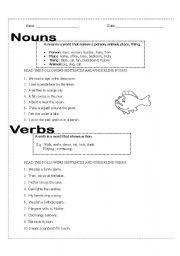 English Worksheets: Nouns and Verbs