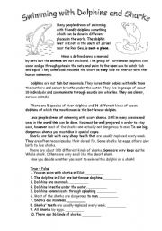 English Worksheet: Swimming with Dolphins and Sharks