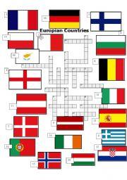 worksheet: Europian Countries. Crossword.
