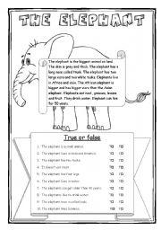 English Worksheets: The elephant - part 1/2 - 3 WS + key