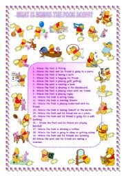 English Worksheets: WHAT IS WINNIE THE POOH DOING?