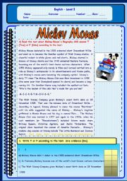 English Worksheet: MICKEY MOUSE READING AND COMPREHENSION EXERCISES