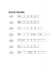 english worksheets week days spelling. Black Bedroom Furniture Sets. Home Design Ideas