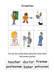 English Worksheets: Fun matching game (occupations)