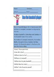English Worksheet: Ben the baseball player