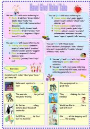 English Worksheet: common verbs and noun patterns